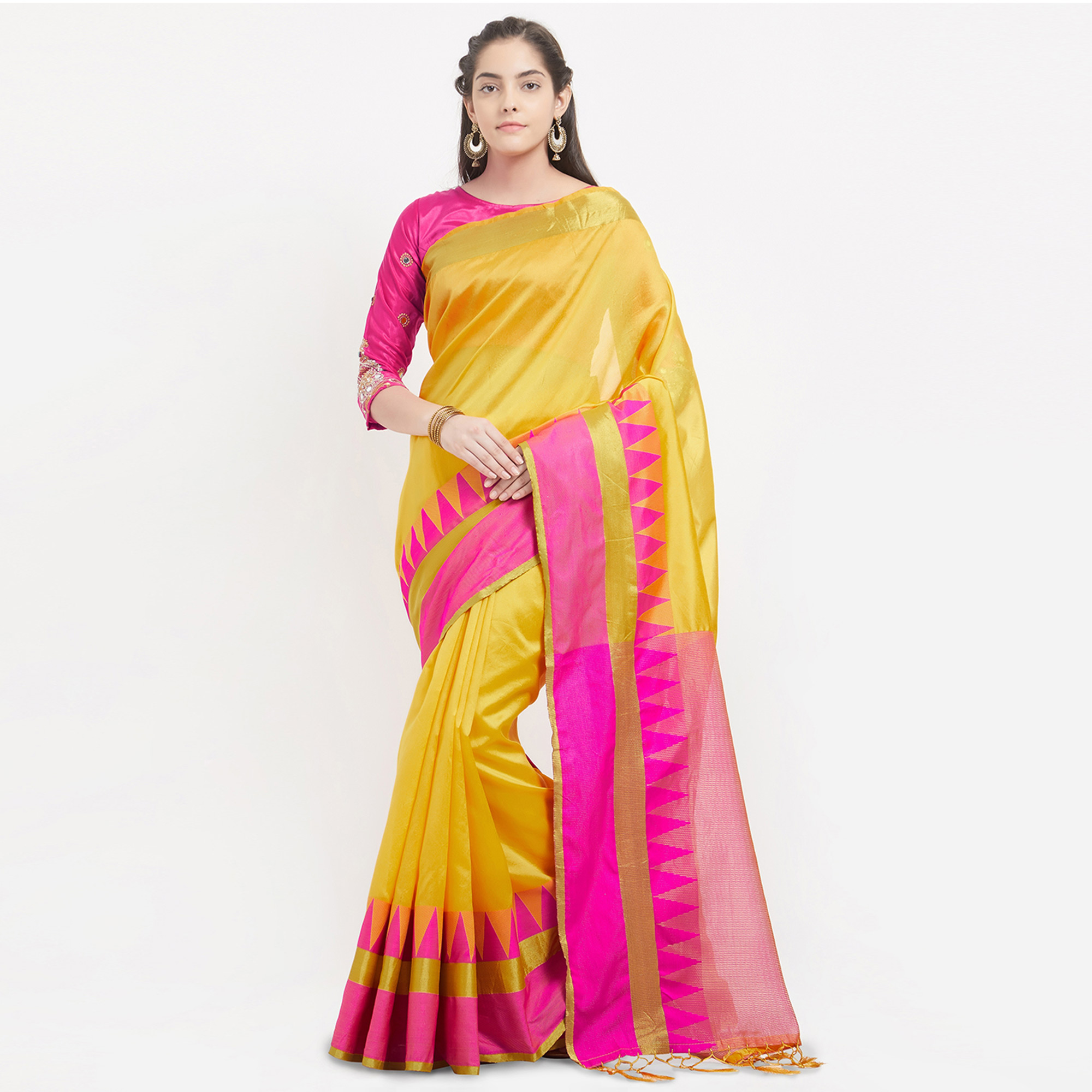 Yellow - Pink Banglori Silk Gold Foil Printed Saree with Embroidered Blouse