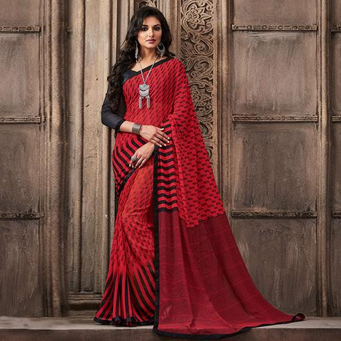 Demanding Red Colored Casual Wear Printed Georgette Saree