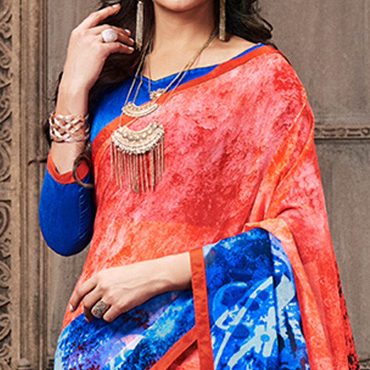 Pleasant Red - Blue Colored Casual Wear Printed Georgette Saree