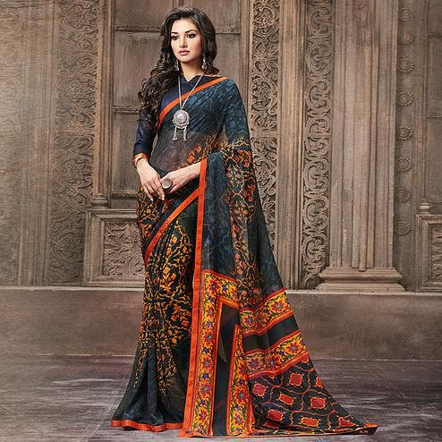 Unique Black Colored Casual Wear Printed Georgette Saree