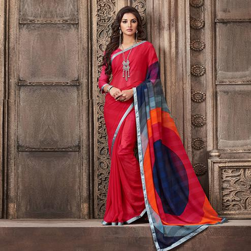 Refreshing Red Colored Casual Wear Printed Georgette Saree