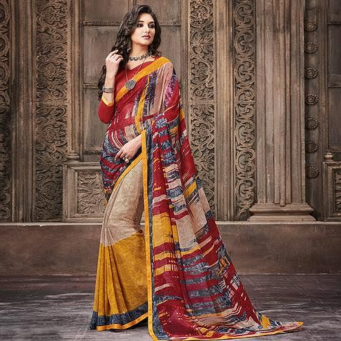 Elegant Multi Colored Casual Wear Printed Georgette Saree