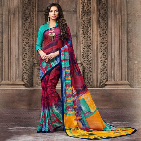 Radiant Magenta Pink Colored Casual Wear Printed Georgette Saree