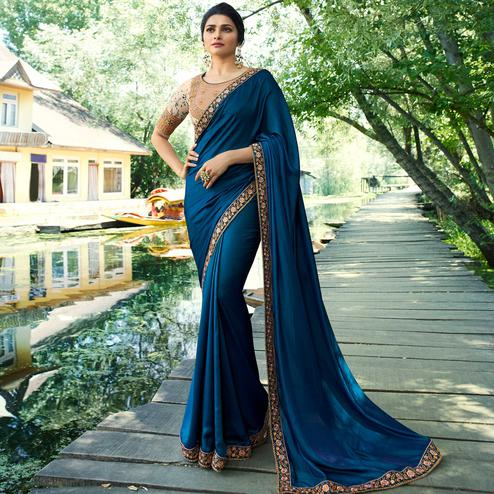 Hypnotic Blue Colored Partywear Embroidered Silk Saree