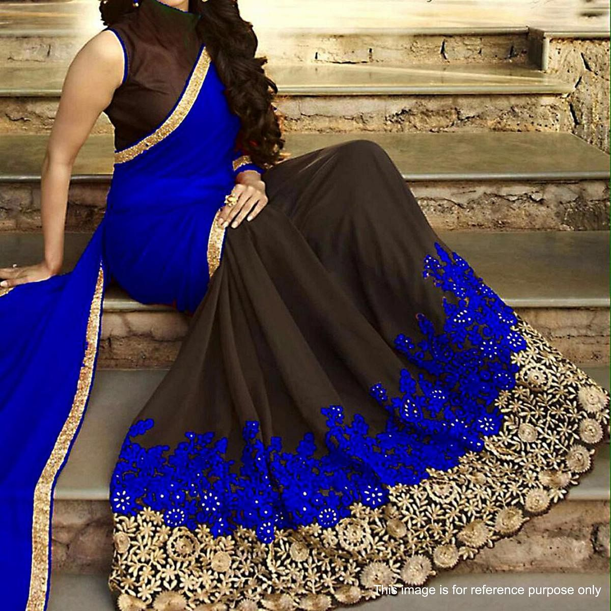 Blue - Coffee Brown Georgette Embroidery Saree