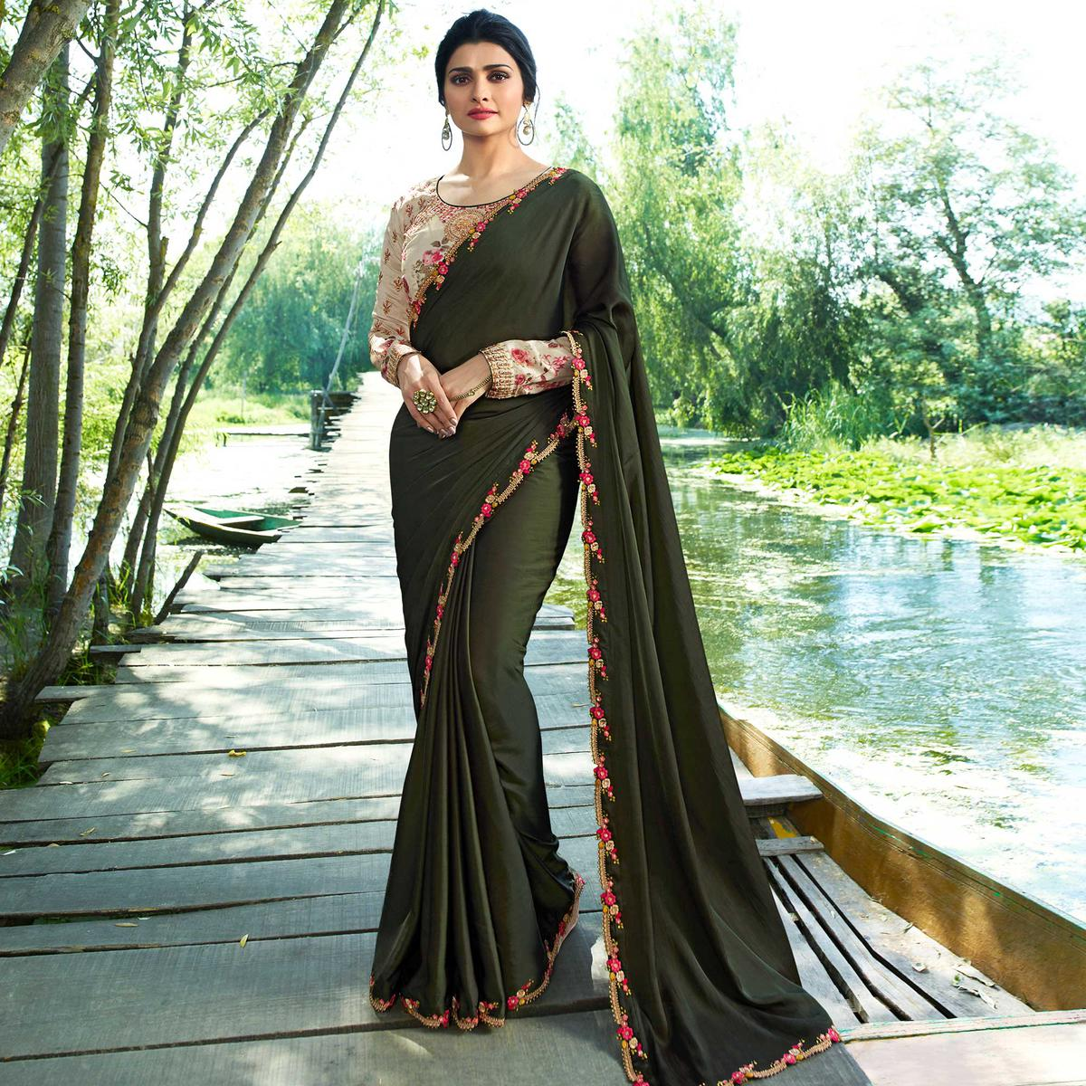 Marvellous Dark Olive Green Colored Partywear Embroidered Silk Saree