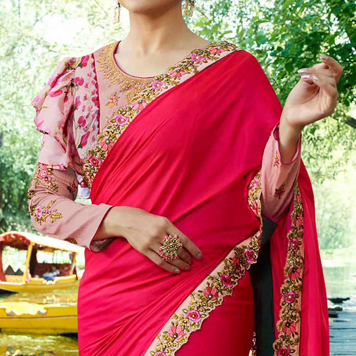 Glowing Fuschia Pink Colored Partywear Embroidered Silk Saree