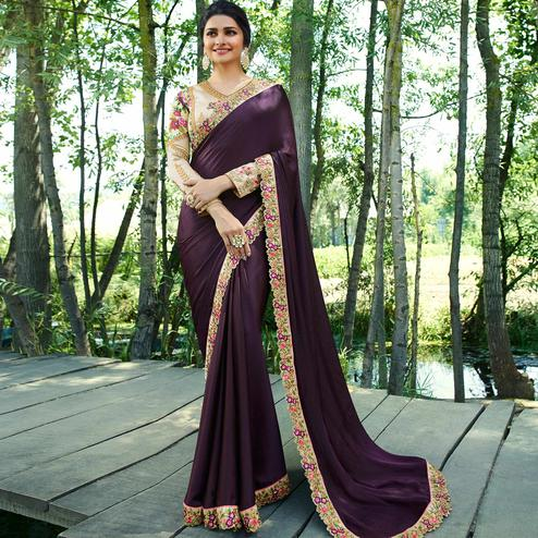 Gorgeous Dark Purple Colored Partywear Embroidered Silk Saree