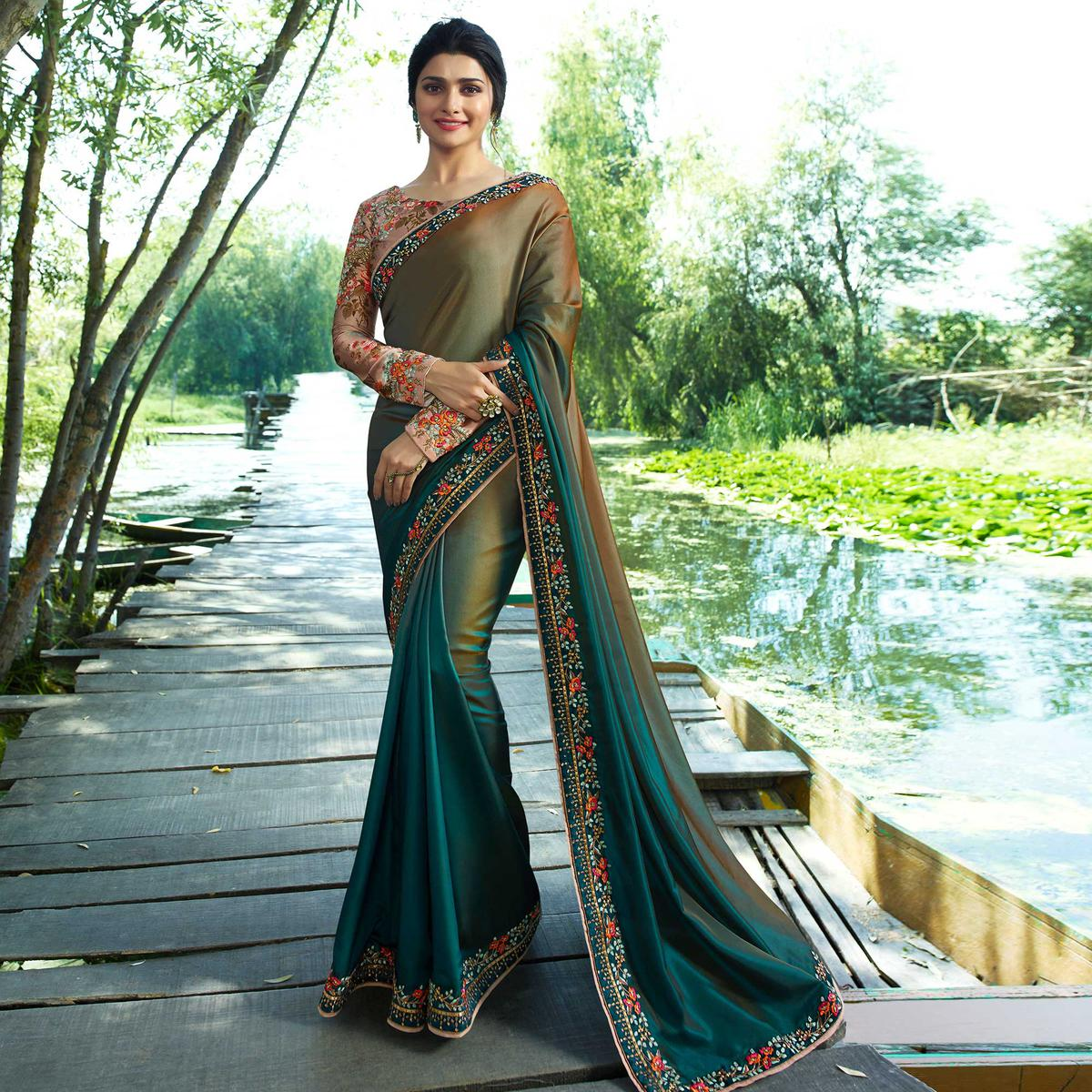 Different Olive-Teal Green Colored Partywear Embroidered Silk Saree