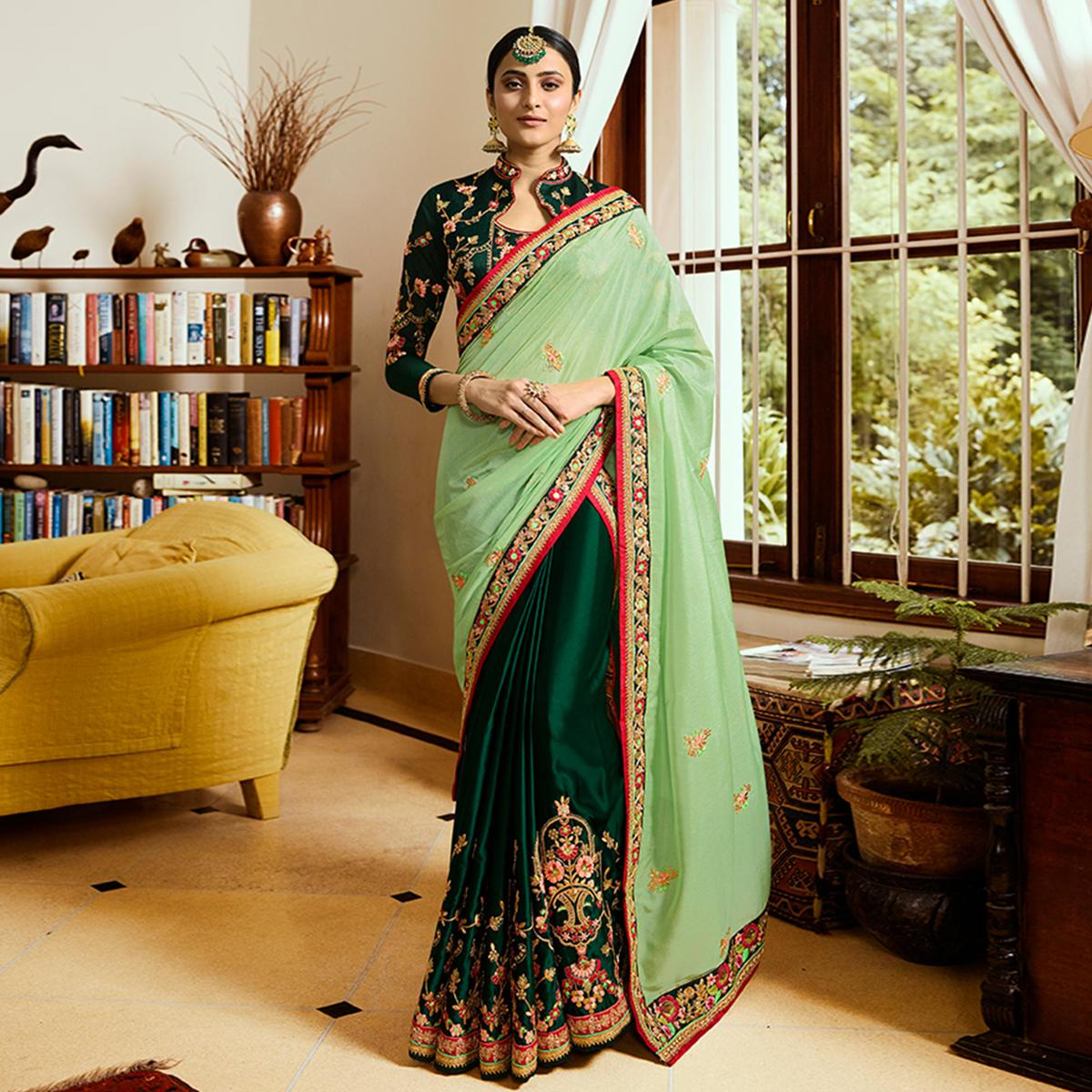 Intricate Bottle Green & Mint Green Colored Partywear Embroidered Japan Crepe Saree