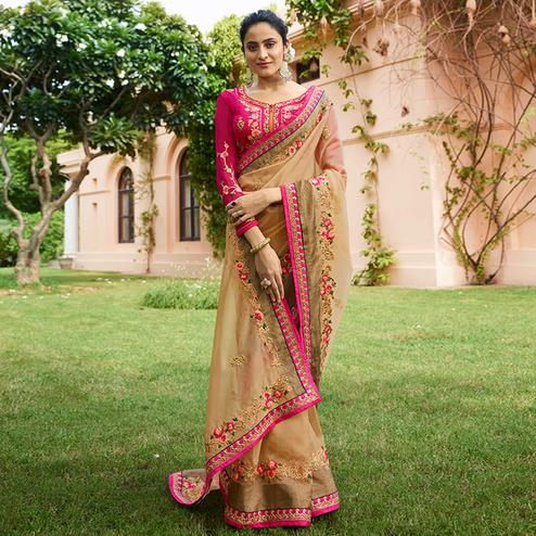 Desirable Beige Colored Partywear Embroidered Art Silk Saree