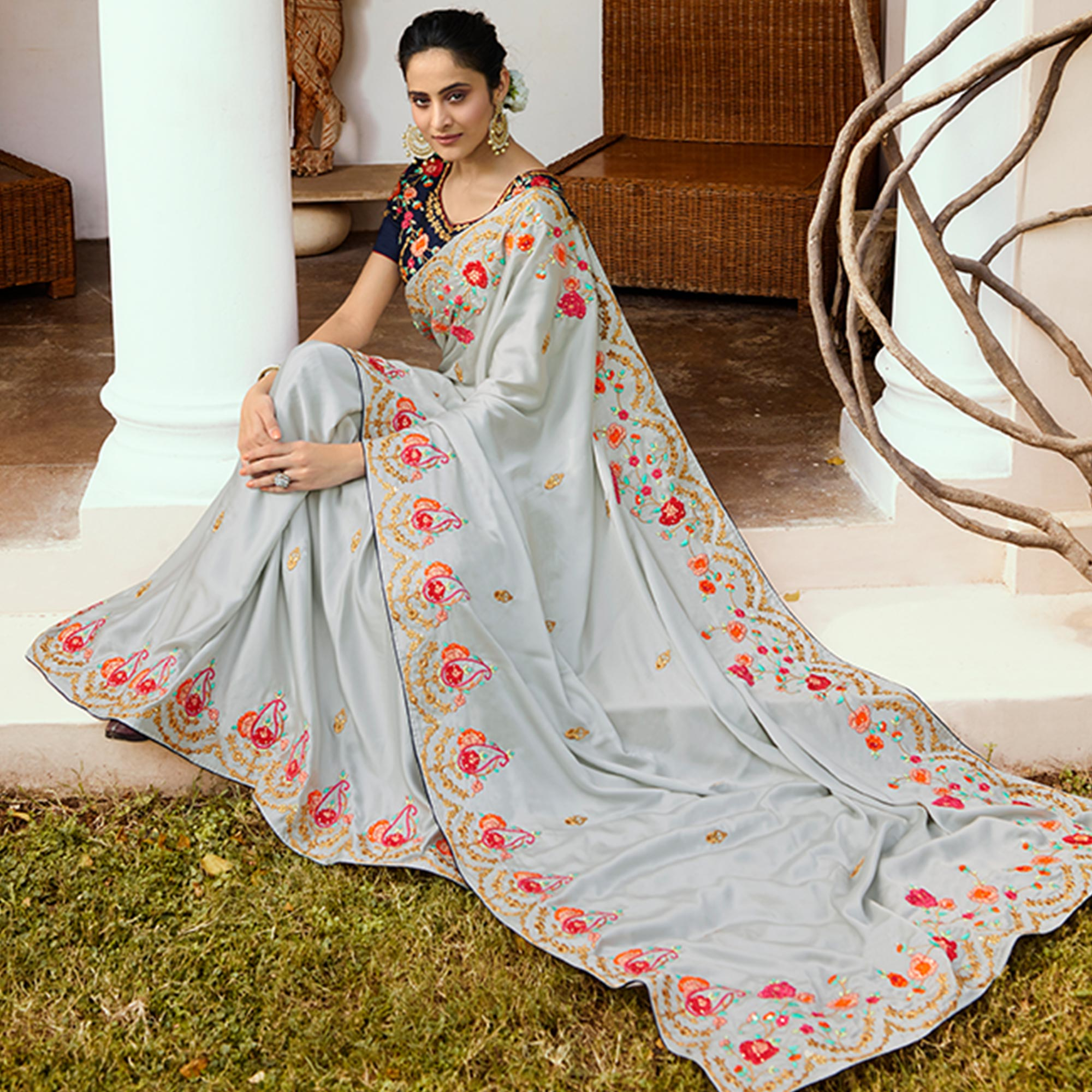 Sophisticated Grey Colored Partywear Embroidered Silk Saree