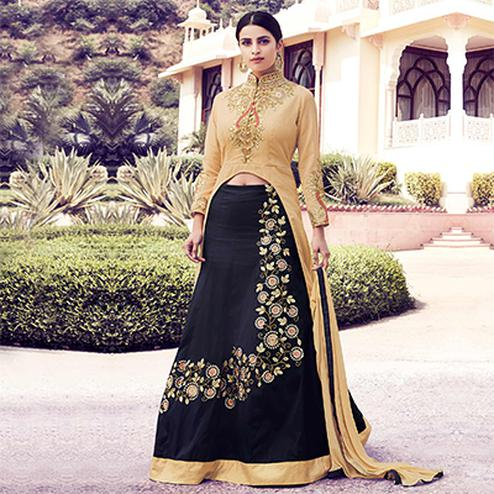 Golden - Black Party Wear Lehenga Kameez