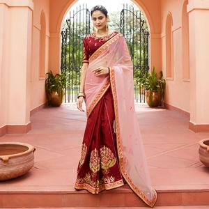 Demanding Maroon - Pink Colored Partywear Embroidered Silk Saree