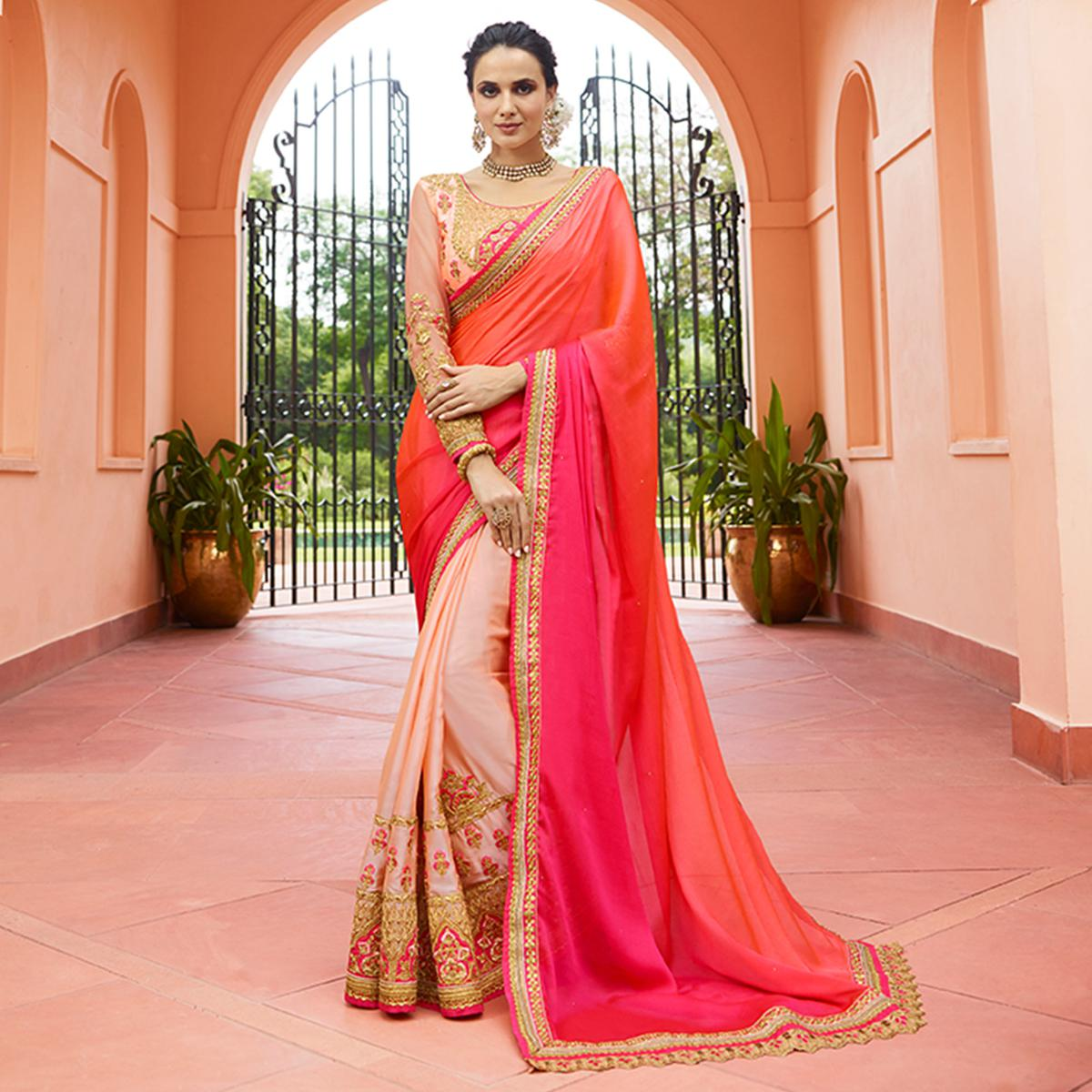 Pleasant Shaded Pink Colored Partywear Embroidered Silk Saree