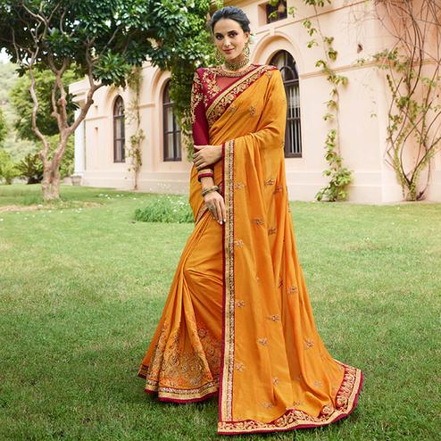 Unique Mustard Yellow Colored Partywear Embroidered Cotton Silk Saree