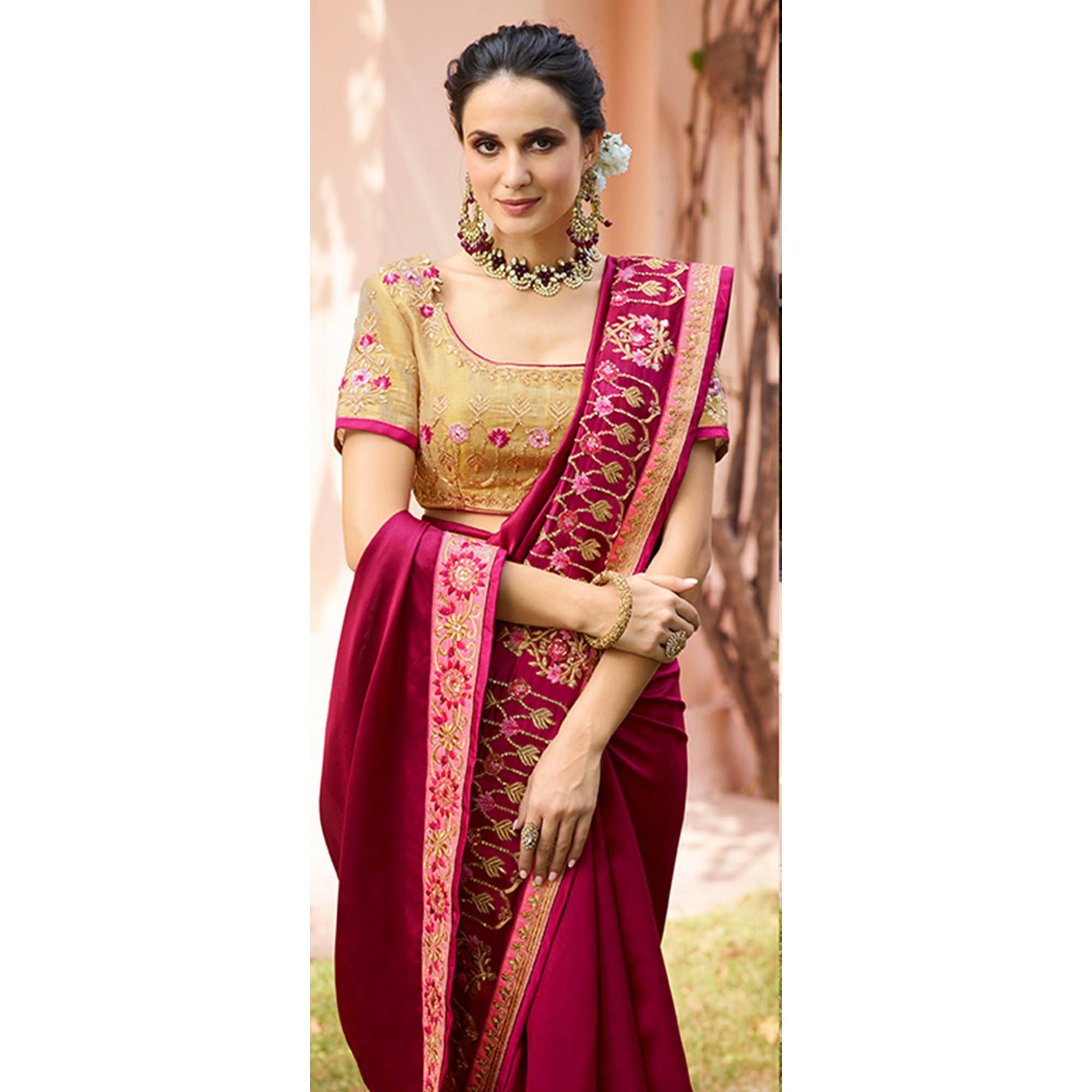 Elegant Magenta Colored Partywear Embroidered Silk Saree