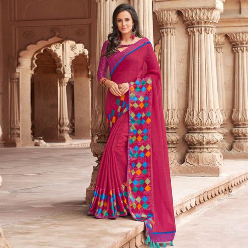 Exotic Dark Pink Colored Party Wear Printed Linen Saree