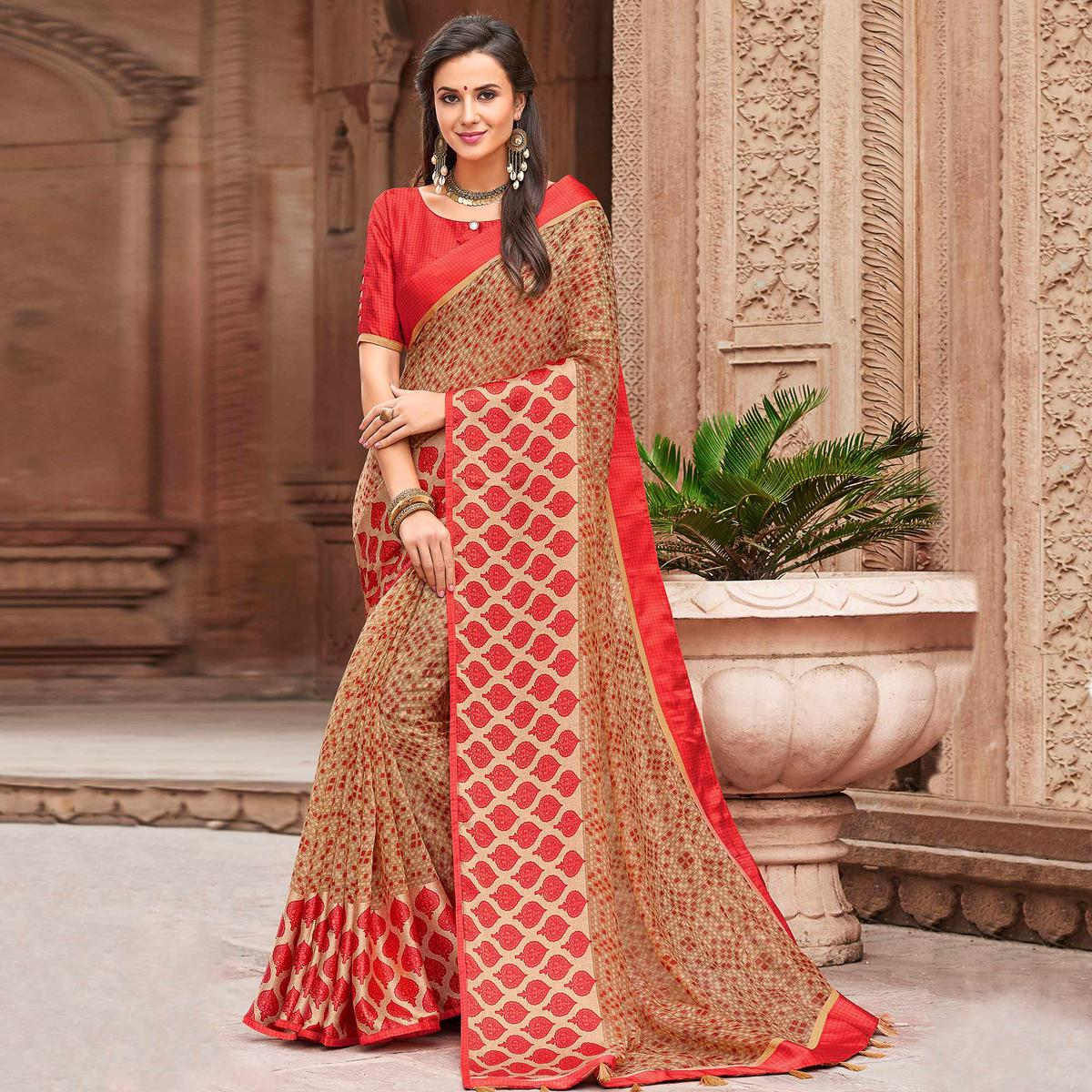 Majesty Beige Colored Party Wear Printed Linen Saree