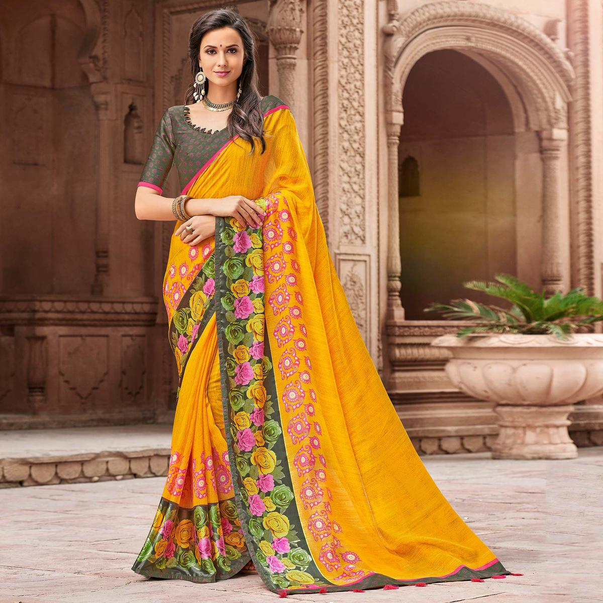 Preferable Yellow Colored Party Wear Printed Linen Saree