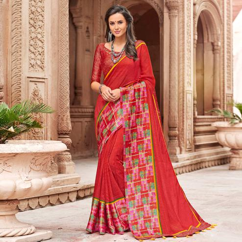 Beautiful Red Colored Party Wear Printed Linen Saree