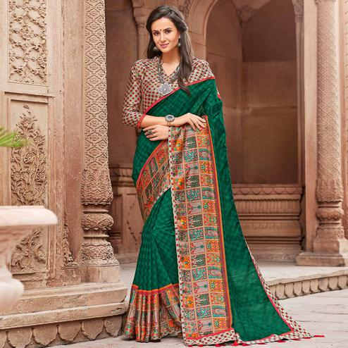 Gorgeous Dark Green Colored Party Wear Printed Linen Saree