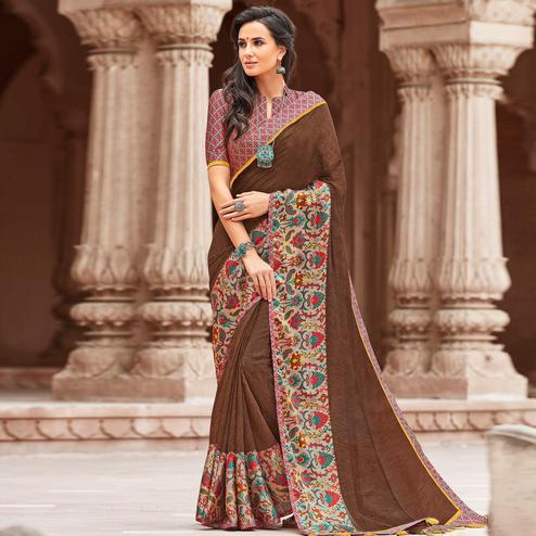 Classy Brown Colored Party Wear Printed Linen Saree