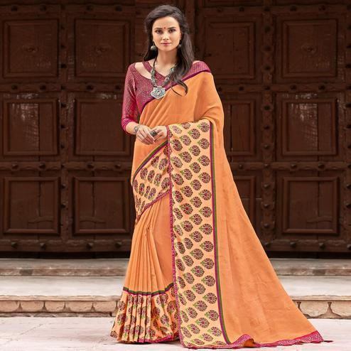 Glorious Light Peach Colored Party Wear Printed Linen Saree