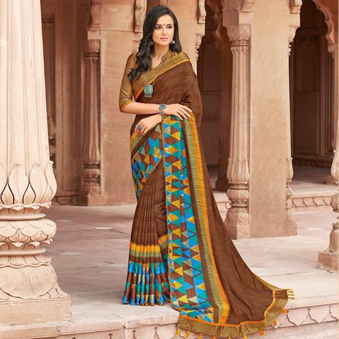 Lovely Brown Colored Party Wear Printed Linen Saree