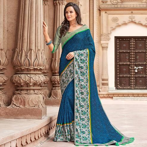 Pretty Blue Colored Party Wear Printed Linen Saree