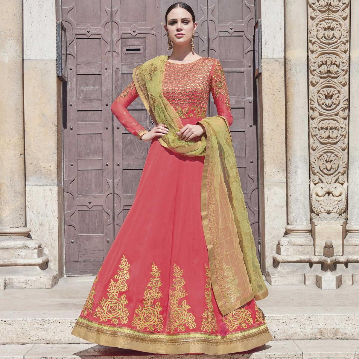 Appealing Pink Colored Partywear Embroidered Silk-Georgette Anarkali Suit