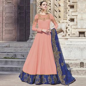 Beautiful Light Pink Colored Partywear Embroidered Silk-Georgette Anarkali Suit
