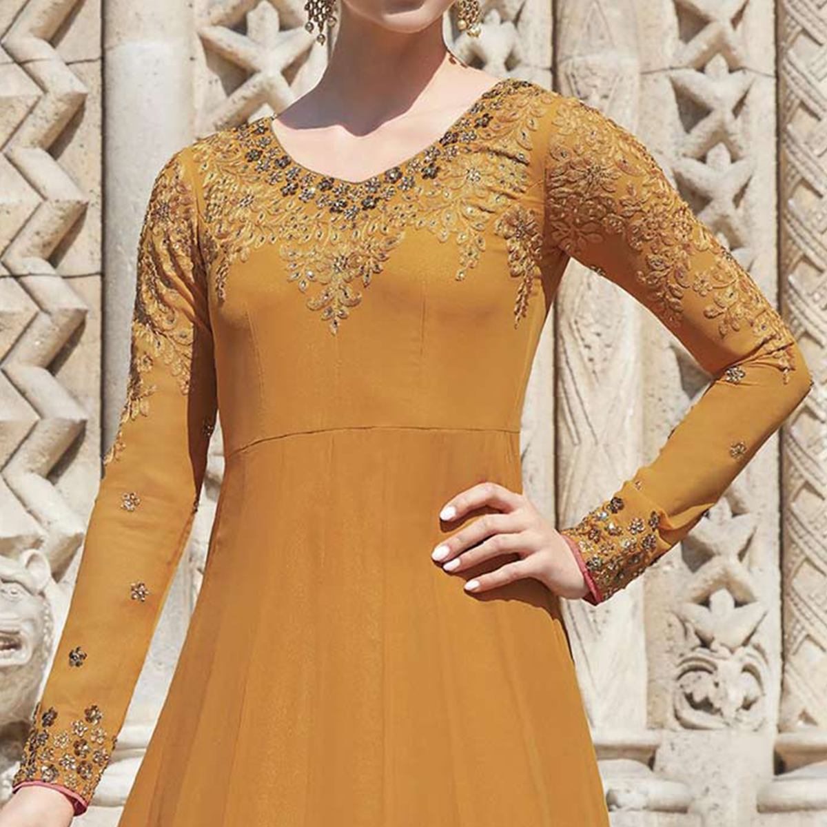 Glowing Light Yellow Colored Partywear Embroidered Silk-Georgette Anarkali Suit