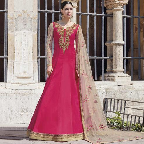 Energetic Pink Colored Partywear Embroidered Silk-Georgette Anarkali Suit