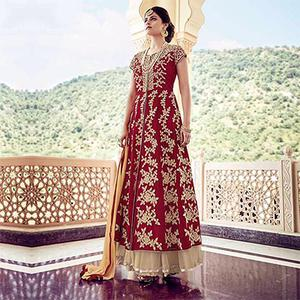 Red Embroidered Work Lehenga Suit