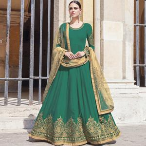 Refreshing Green Colored Partywear Embroidered Silk-Georgette Anarkali Suit