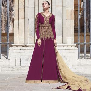 Classy Purple Colored Partywear Embroidered Silk-Georgette Anarkali Suit
