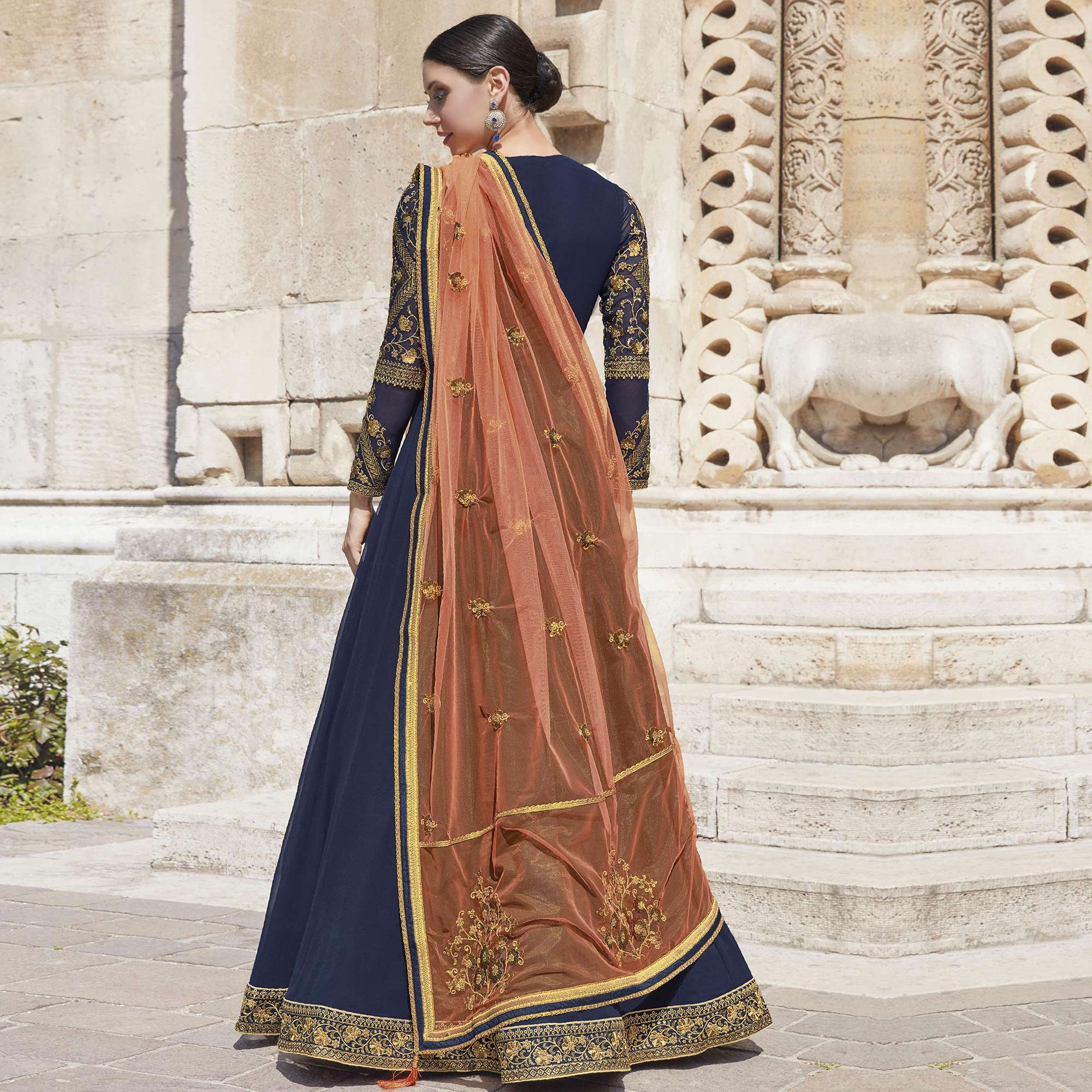 Flattering Blue Colored Partywear Embroidered Silk-Georgette Anarkali Suit
