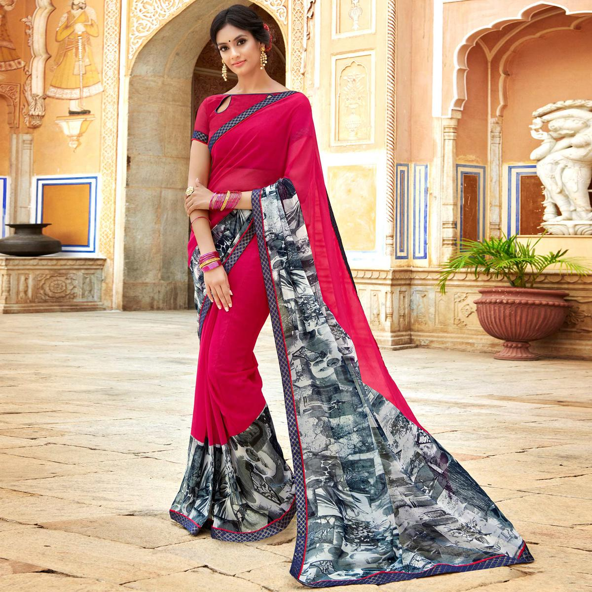 Desirable Dark Pink & Grey Colored Casual Wear Printed Georgette Saree