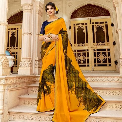 Sophisticated Yellow Colored Casual Wear Printed Georgette Saree