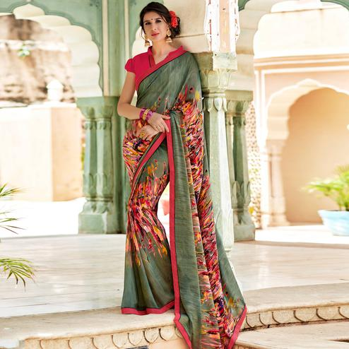 Unique Olive Green Colored Casual Wear Printed Georgette Saree