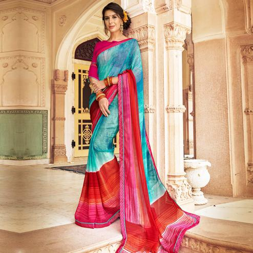 Refreshing Blue & Multi Colored Casual Wear Printed Georgette Saree