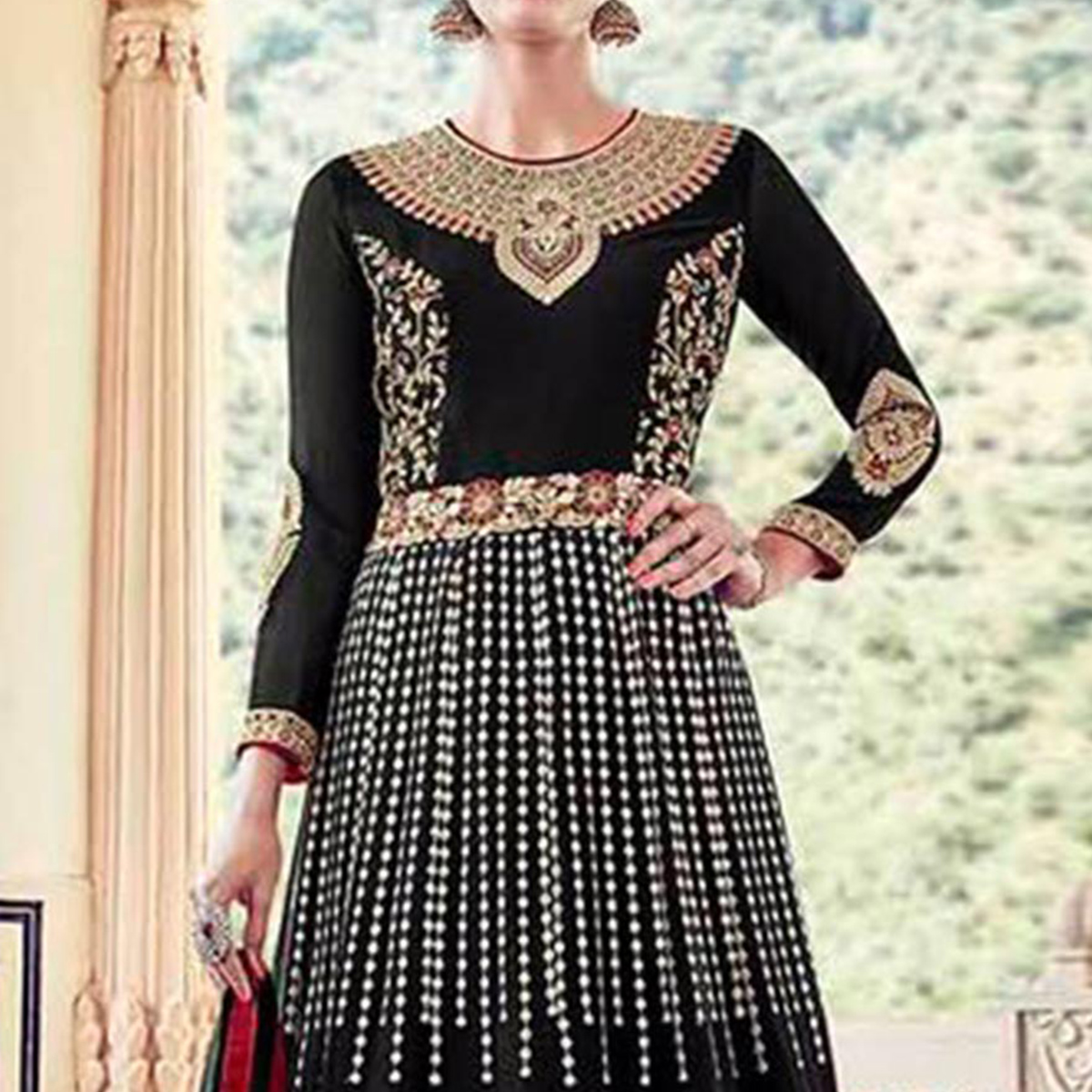 Black High Neck Lehenga Suit