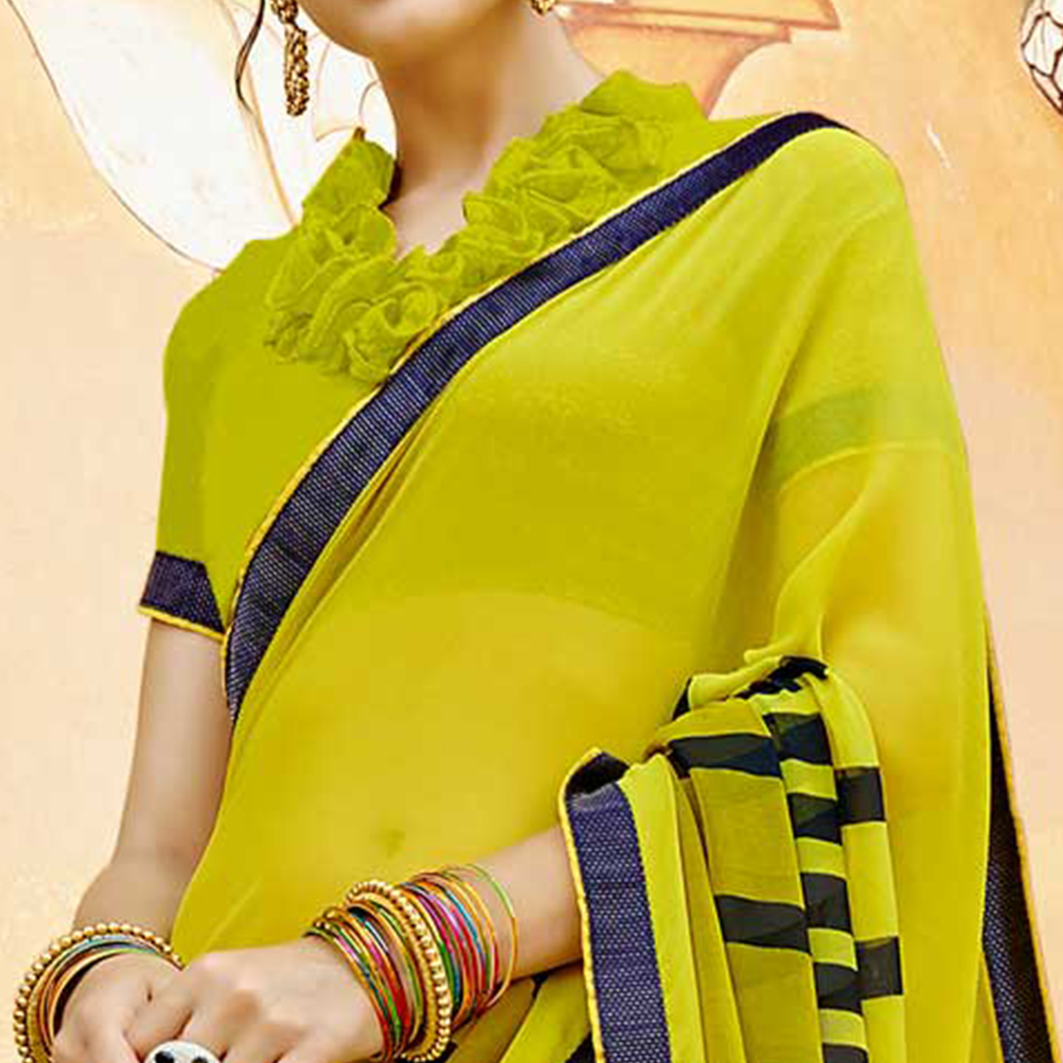 Radiant Pear Green Colored Casual Wear Printed Georgette Saree