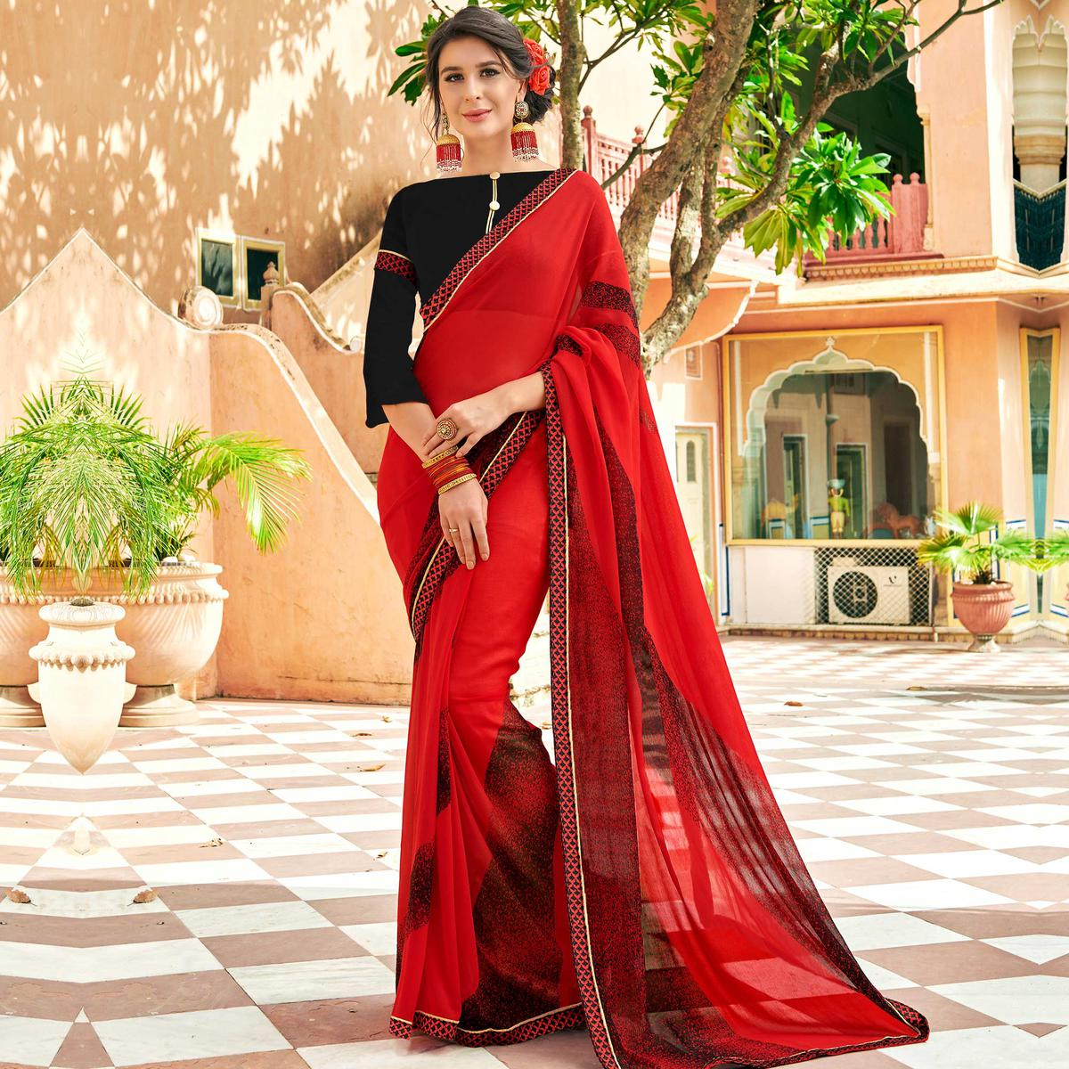 Sensational Red Colored Casual Wear Printed Georgette Saree