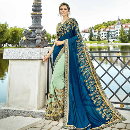 Entrancing Blue & Pastel Green Colored Party Wear Embroidered Lycra-Georgette Saree