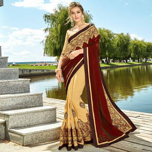 Imposing Maroon & Beige Colored Party Wear Embroidered Georgette Saree