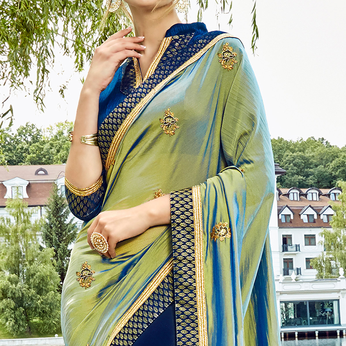 Blissful Mint Green & Navy Blue Colored Party Wear Embroidered Silk-Georgette Saree