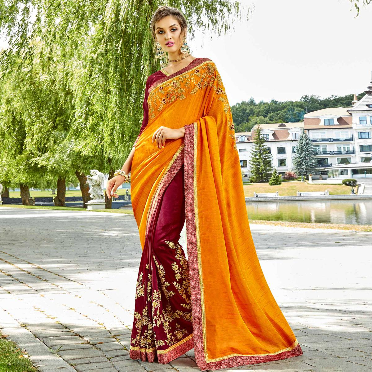 Ideal Orange & Maroon Colored Party Wear Embroidered Silk-Georgette Saree