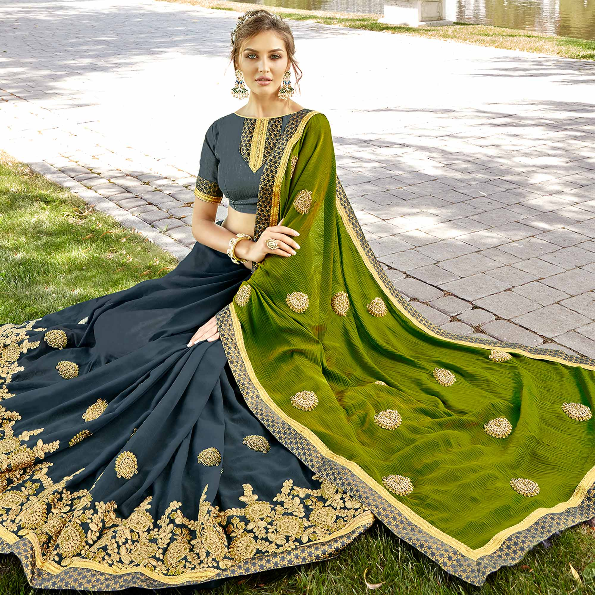 Engrossing Green & Dark Grey Colored Party Wear Embroidered Chiffon-Georgette Saree
